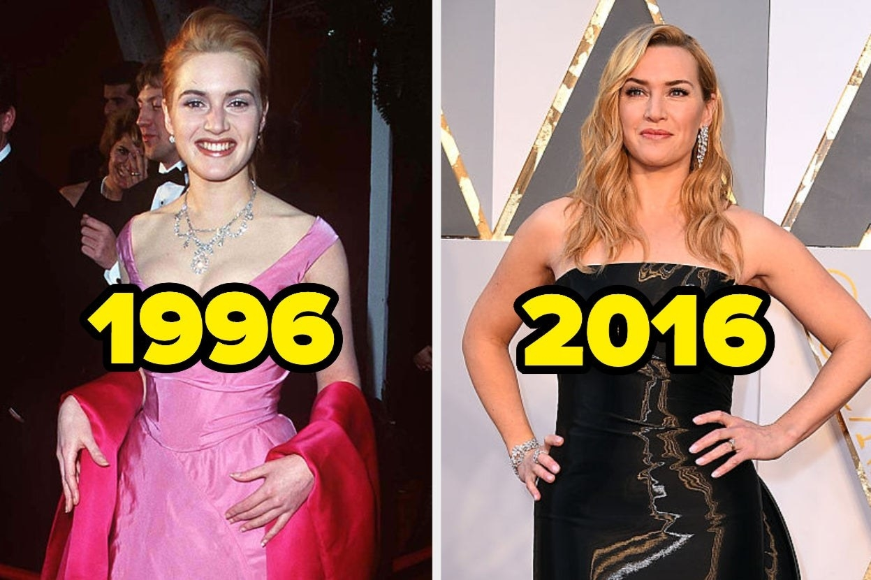 Kate Winslet in pink dress in 1996 and in black dress in 2016