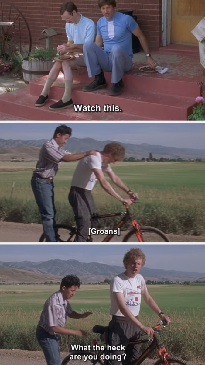 The steak hitting napoleon in the face, almost knocking him and pedro off his bike