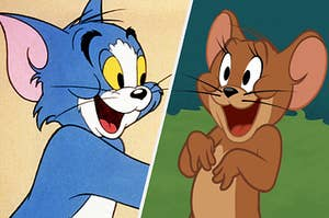 Tom and Jerry smiling at each other