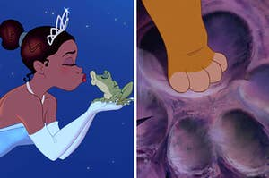 Tiana about to kiss a frog side by side with Simba stepping into his father's paw print