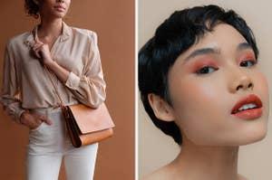 L: Model wearing tan crossbody bag R: Model wearing peachy blush