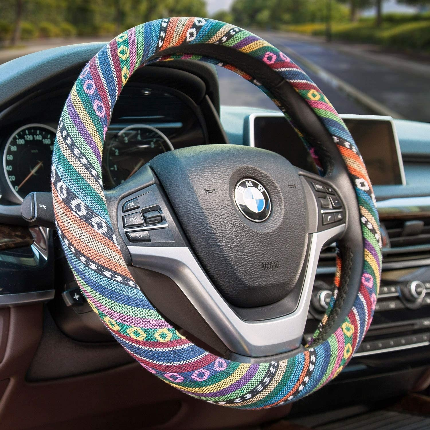 the multicolored cover on a steering wheel