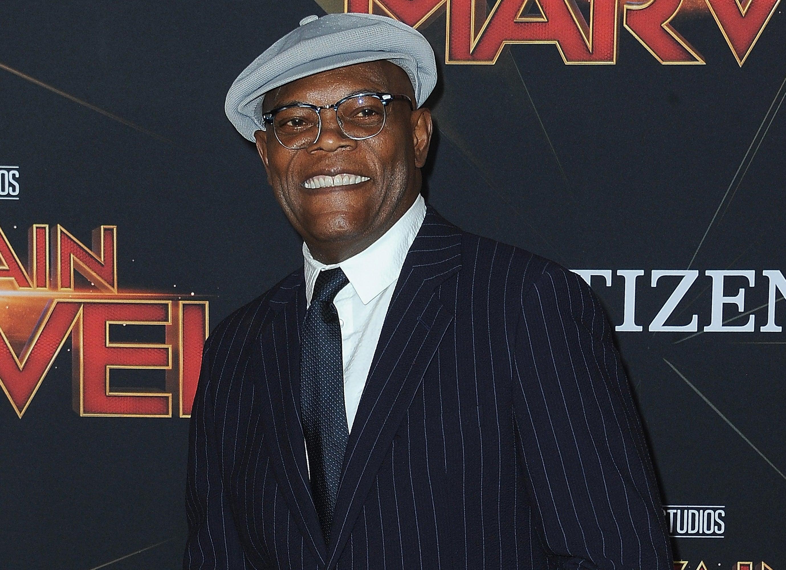 Samuel L. Jackson smiles at a Marvel premiere