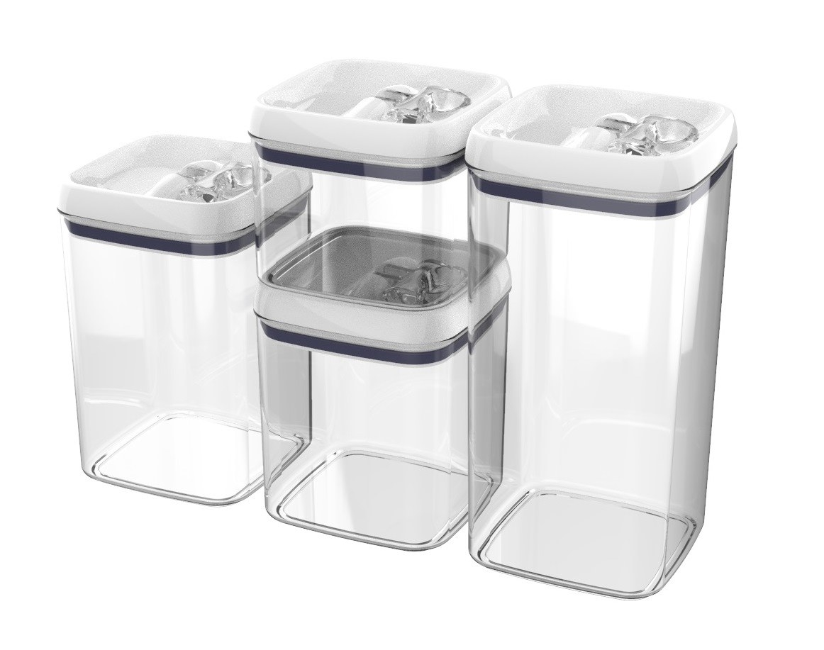 four clear food storage containers of different sizes with white lids