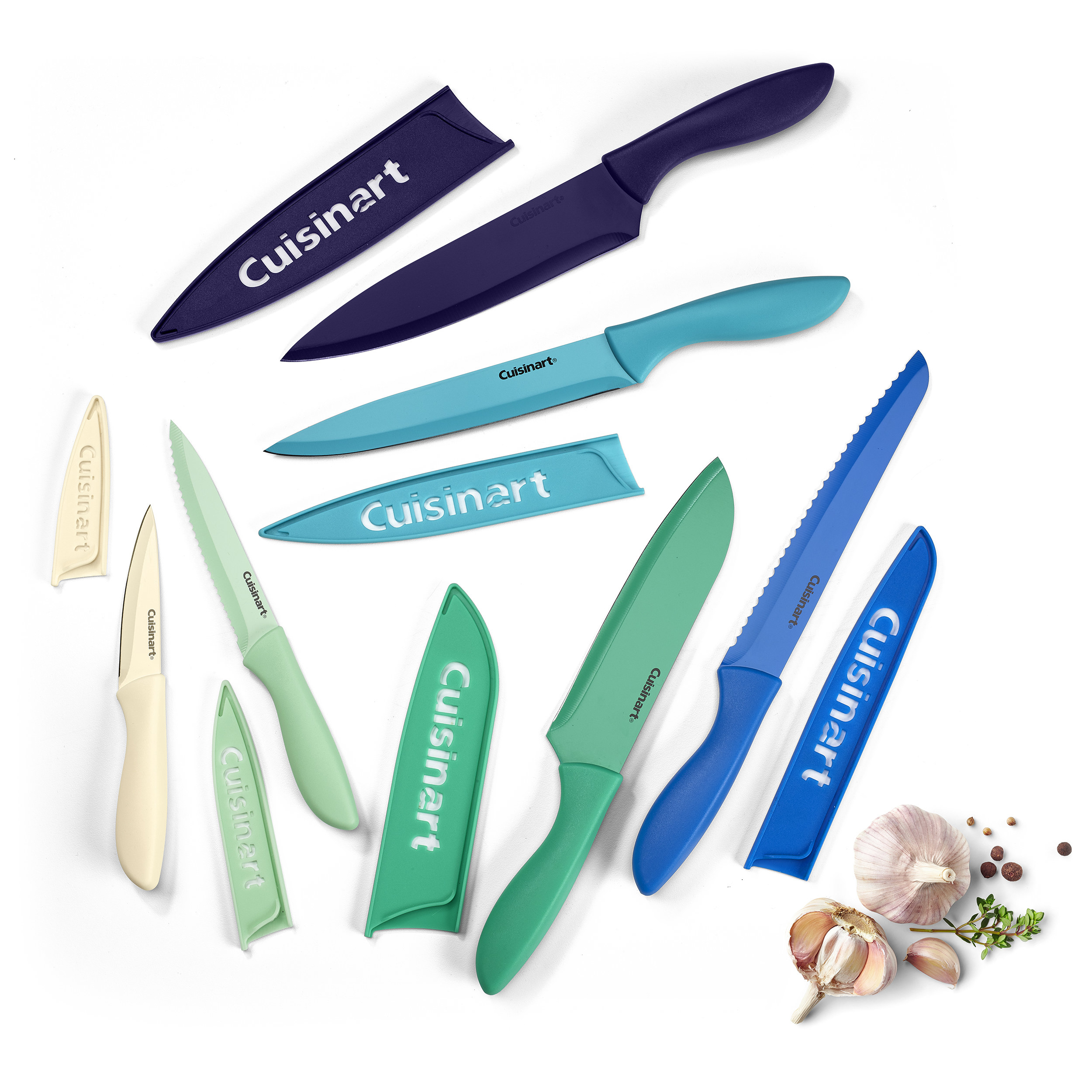 12-piece stainless steel knife set including six knives and knife covers in blue/green ombre colors