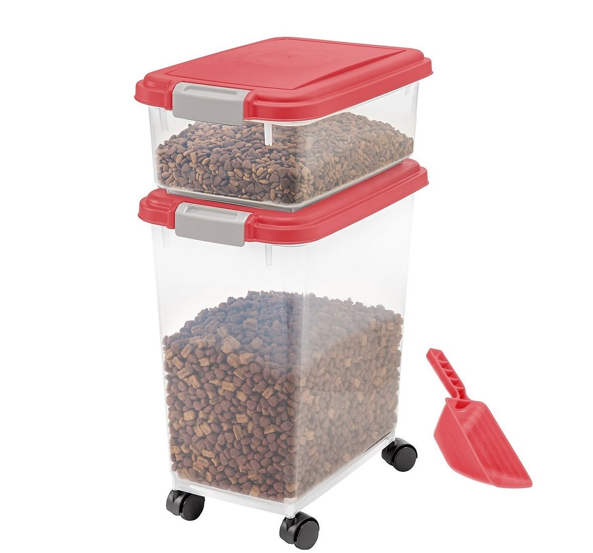 The garnet red/grey red food storage container and scoop combo