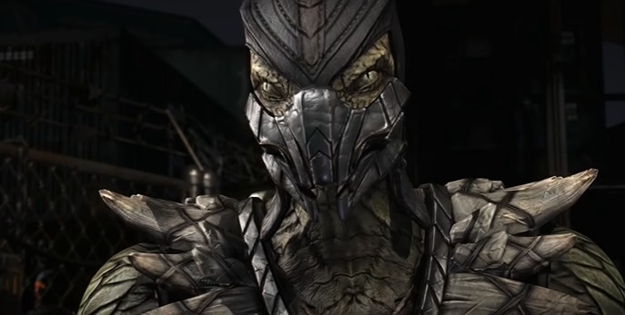 Reptile wearing a silver mask