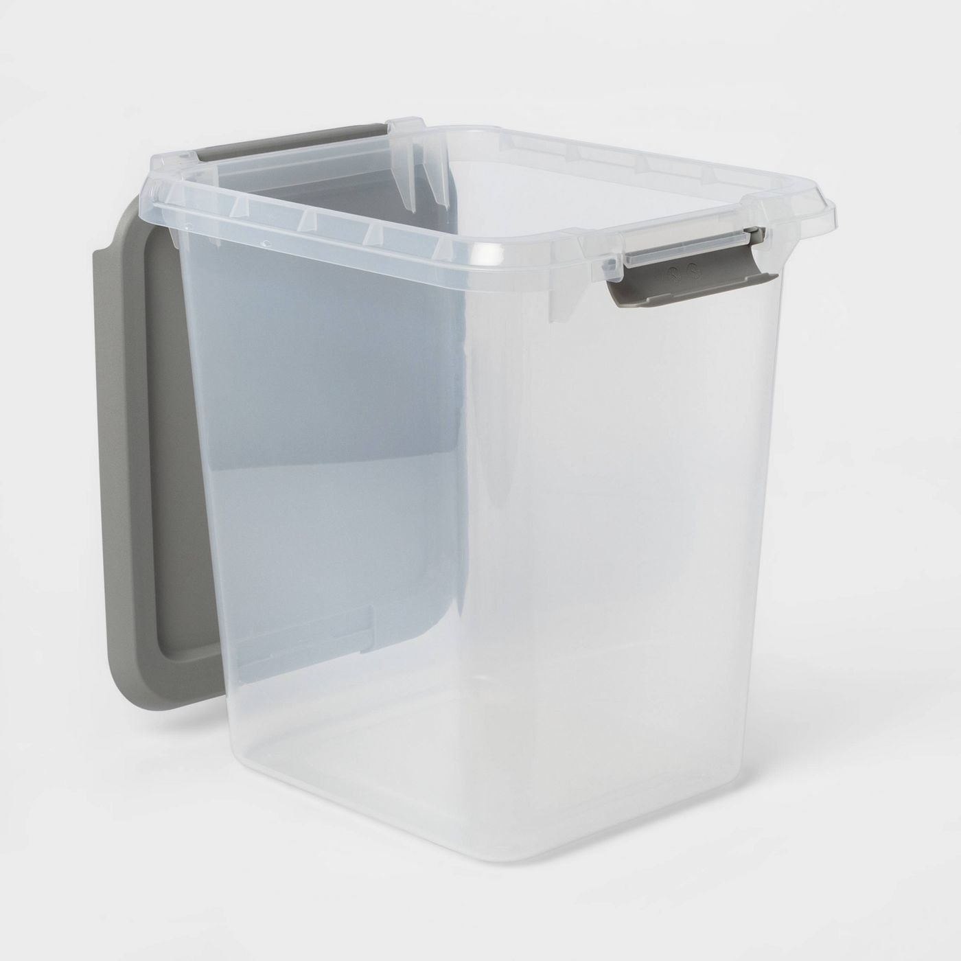Plastic container with gray lid