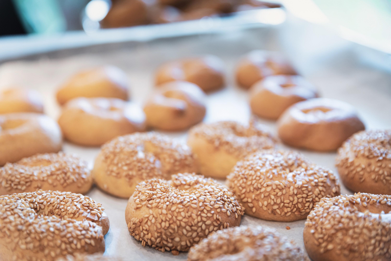 Pan of sesame bagels