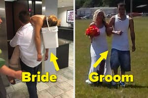 A bride throws up into a bucket and a groom were jorts