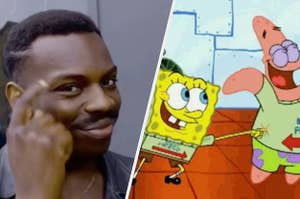 Thinking meme and Spongebob and Patrick