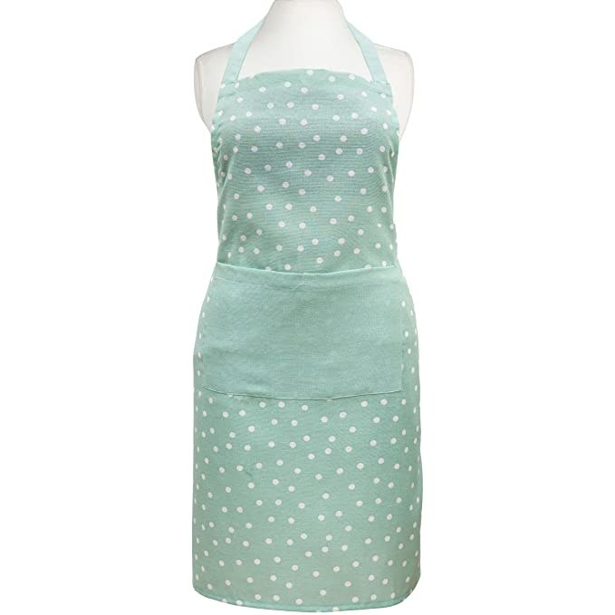 Mint green apron with polka dots.