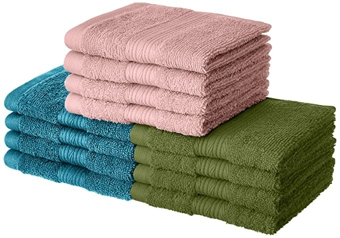 Green, pink and blue hand towels.