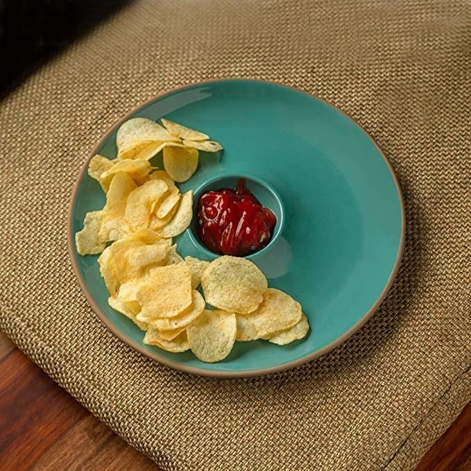 Teal dip platter.