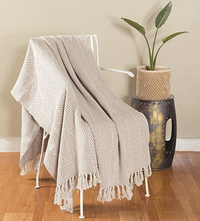 White throw blanket with a geometric print and tassels.