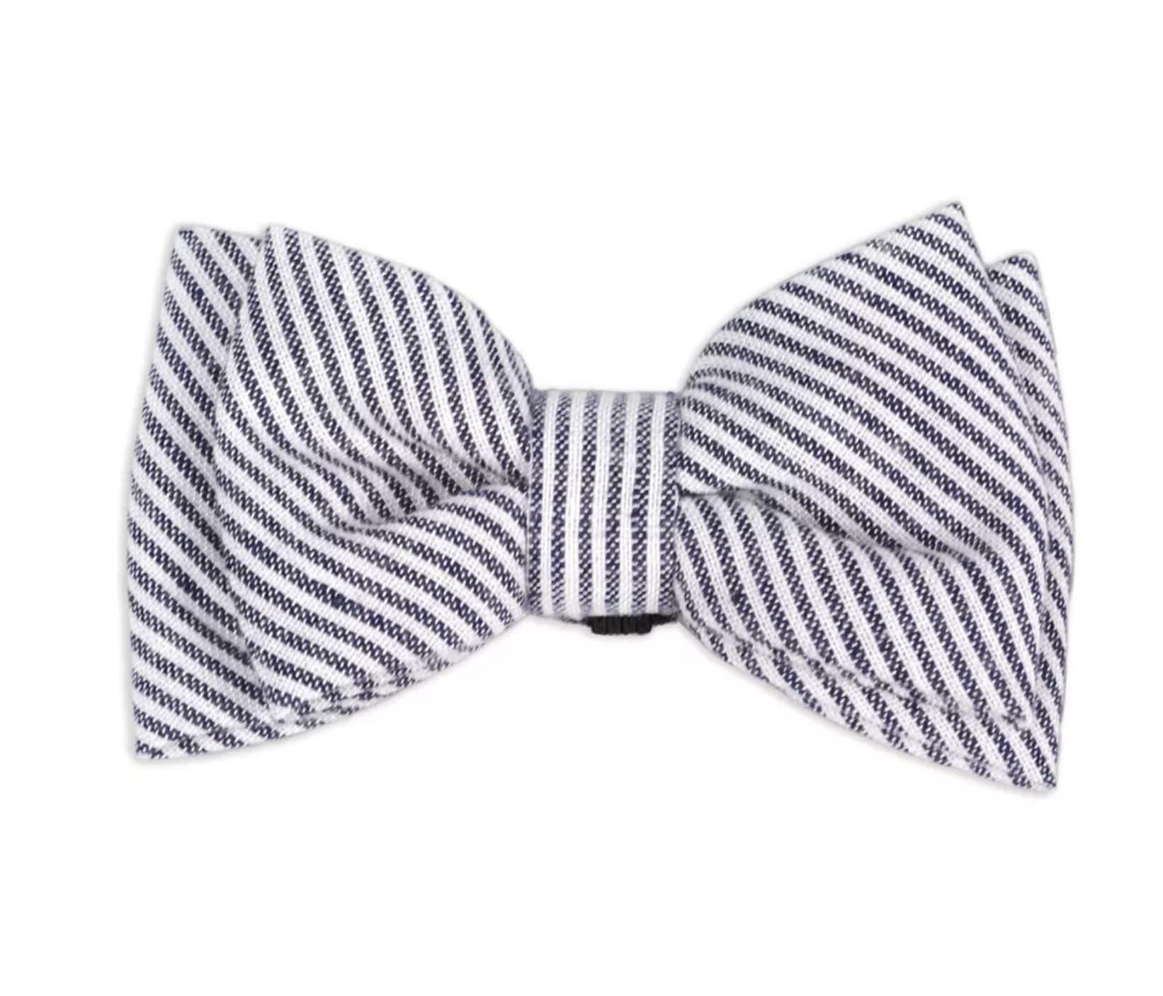 A white and black striped bow