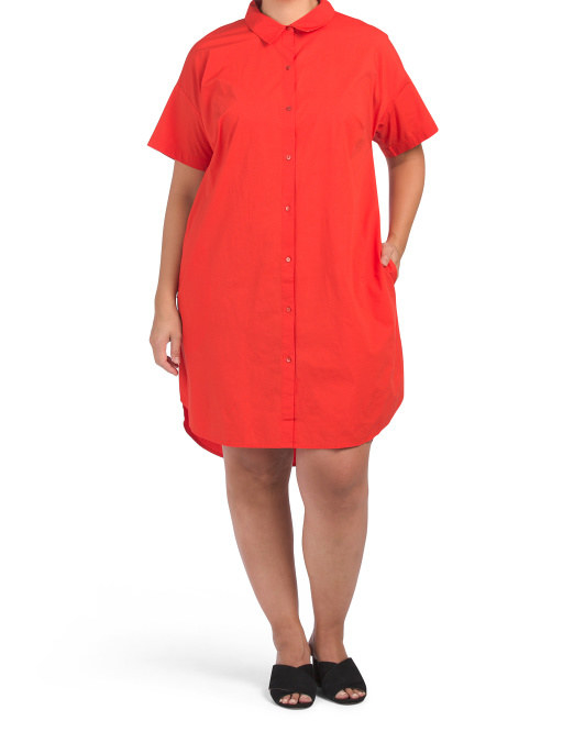 model wearing the red button up dress