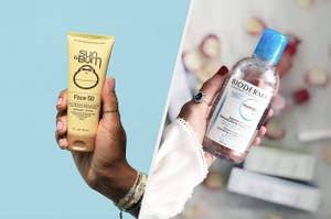 左边是防晒霜,右边是一瓶胶束水