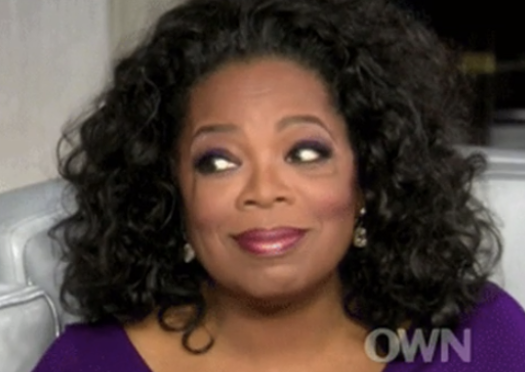 Oprah with her eyes widened