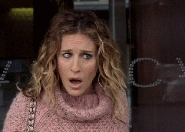 Carrie Bradshaw looking shocked