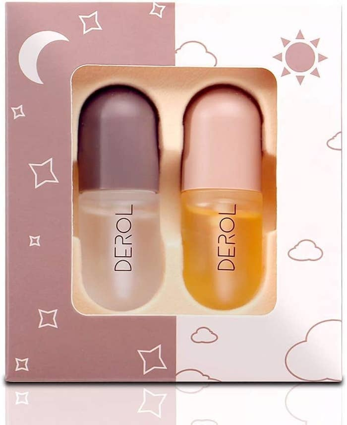 The pair of lip plumping serums together in a box
