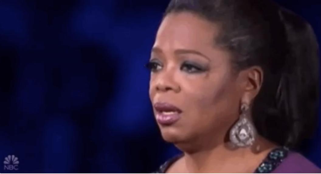 Oprah looking teary-eyed