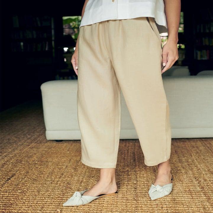 the linen pants in khaki