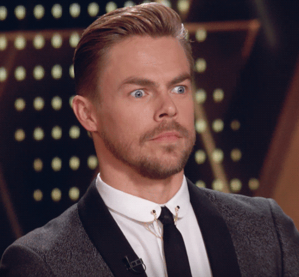Wide-eyed Derek Hough
