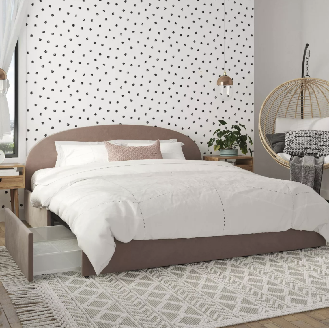 the blush upholstered bed frame with storage drawers