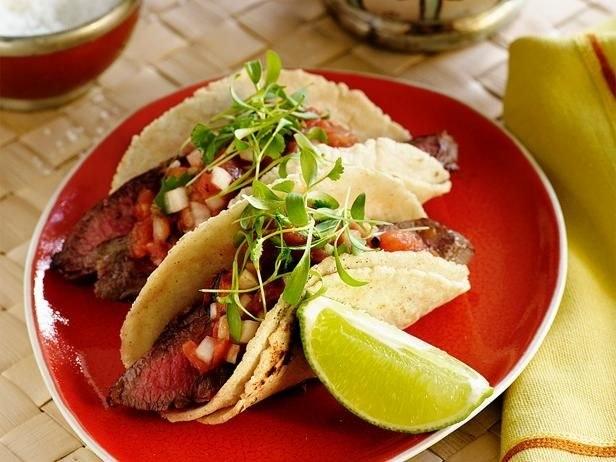 Grilled carne asada tacos.