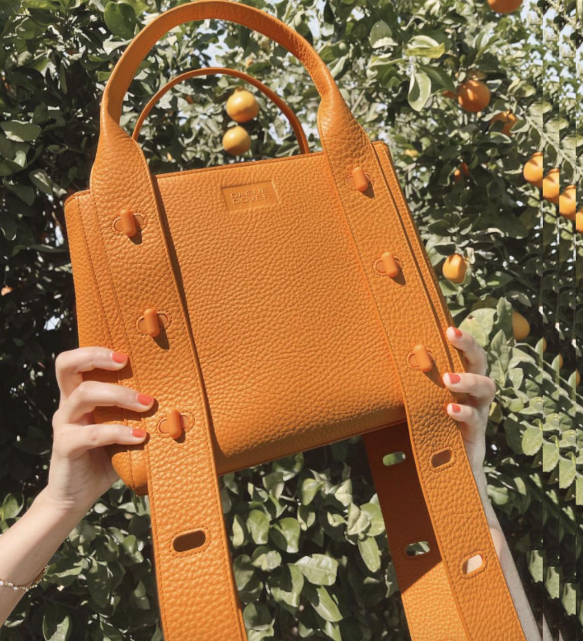 model holding the orange bag