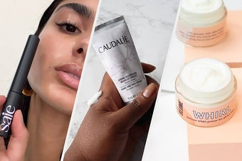 A person holding a tube of brow gel, A person's hand holding hand cream, An open jar of face cream