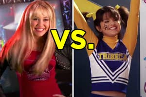 On the left, Miley Cyrus as Hannah Montana in the show's opening credits, and on the right, Selena Gomez as Alex Russo in the