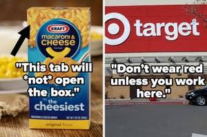 Kraft mac n cheese; a Target store front
