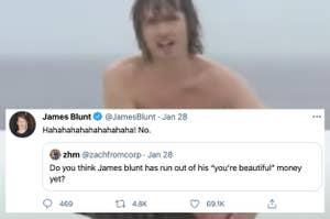 来自詹姆斯的推文嘲笑某人询问他是否已经用完了