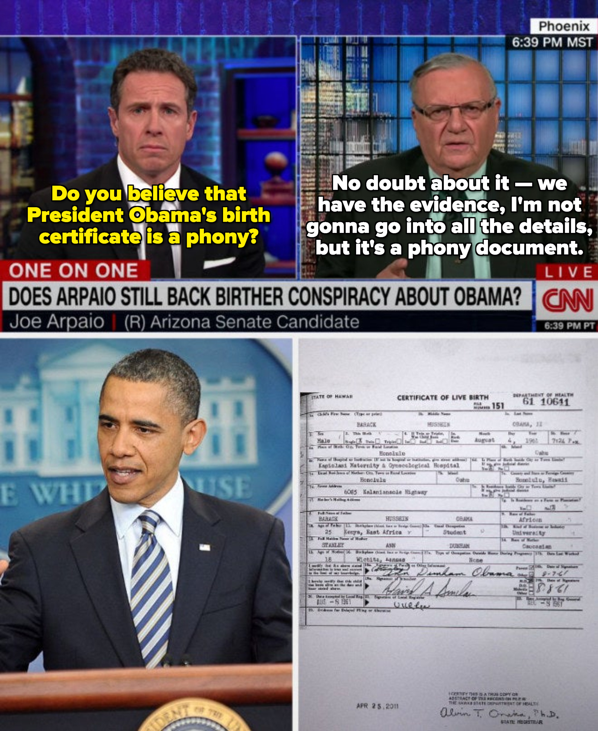 """Joe Arpaio telling CNN Obama's certificate was fake: """"We have the evidence, I'm not gonna go into all the details, but it's a phony document"""""""