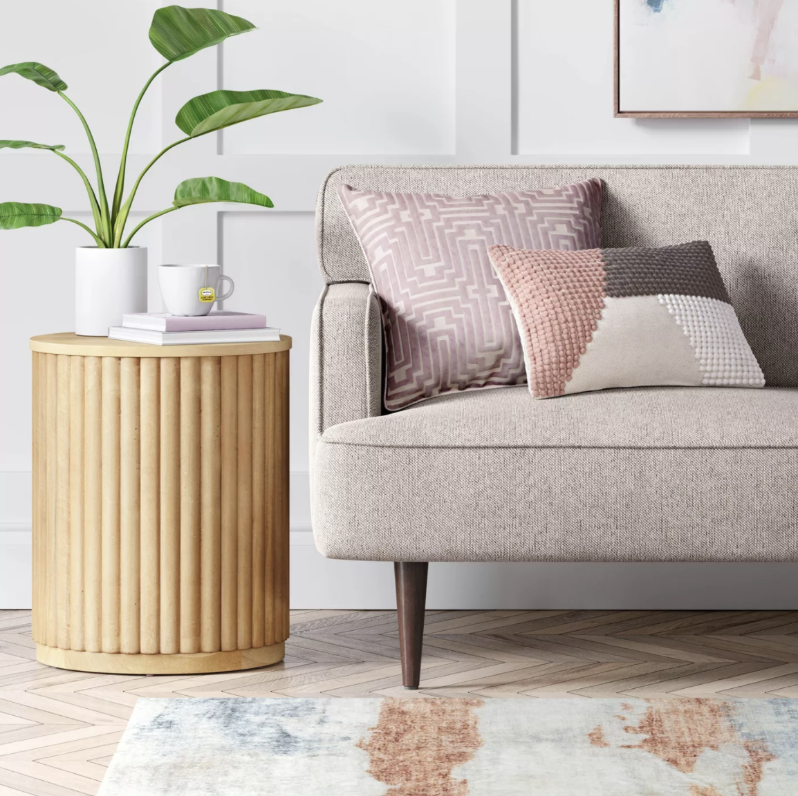 the fluted light wood end table