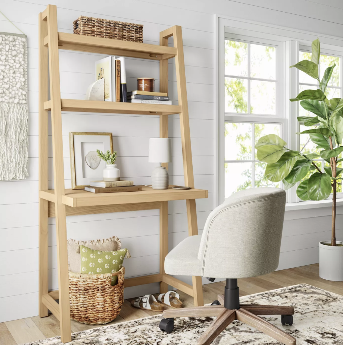 the ladder desk which has two shelves