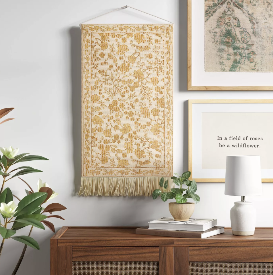 the white and yellow wall hanging