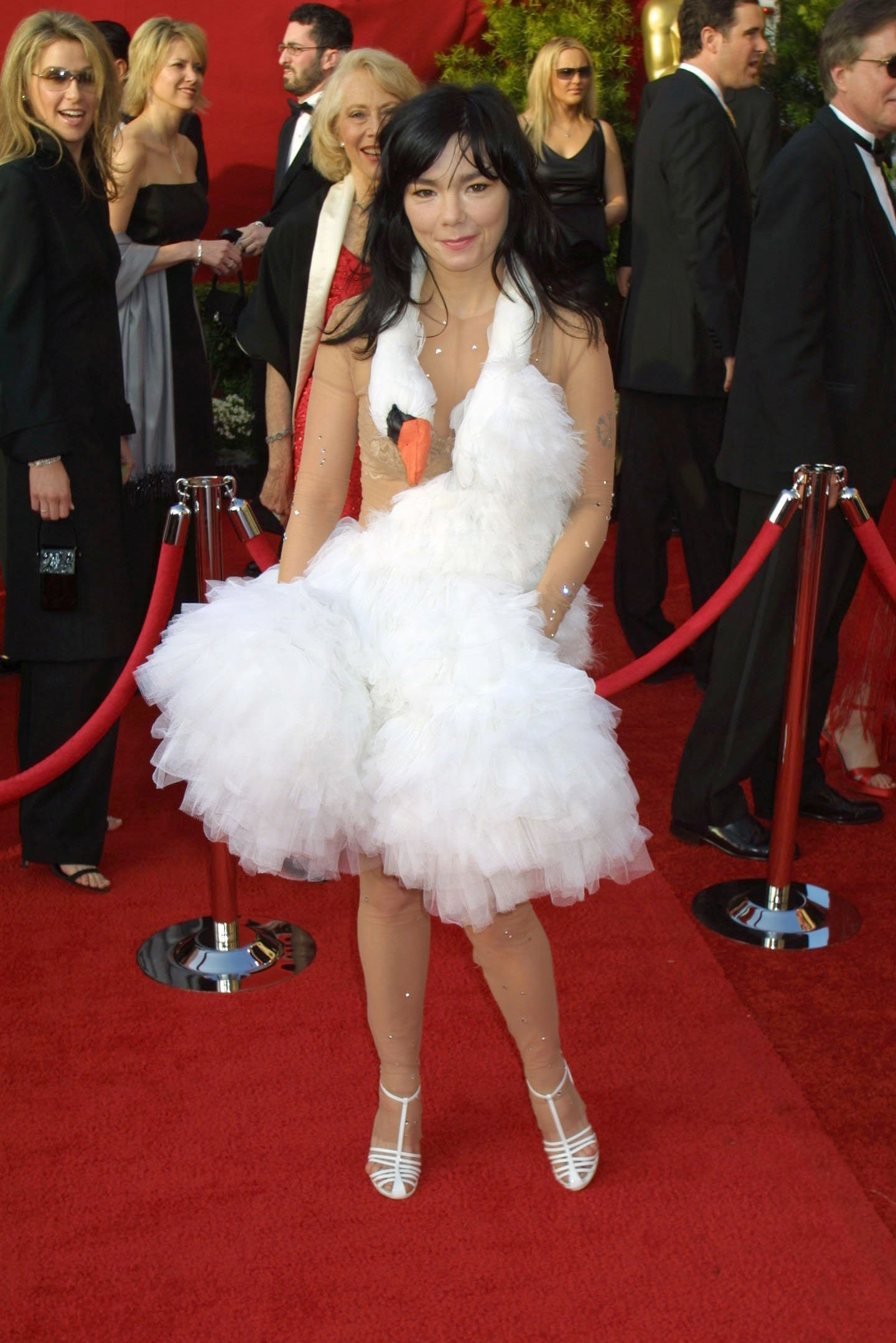 "Björk wearing her white ""swan dress"""