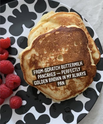 plate with pancakes that says