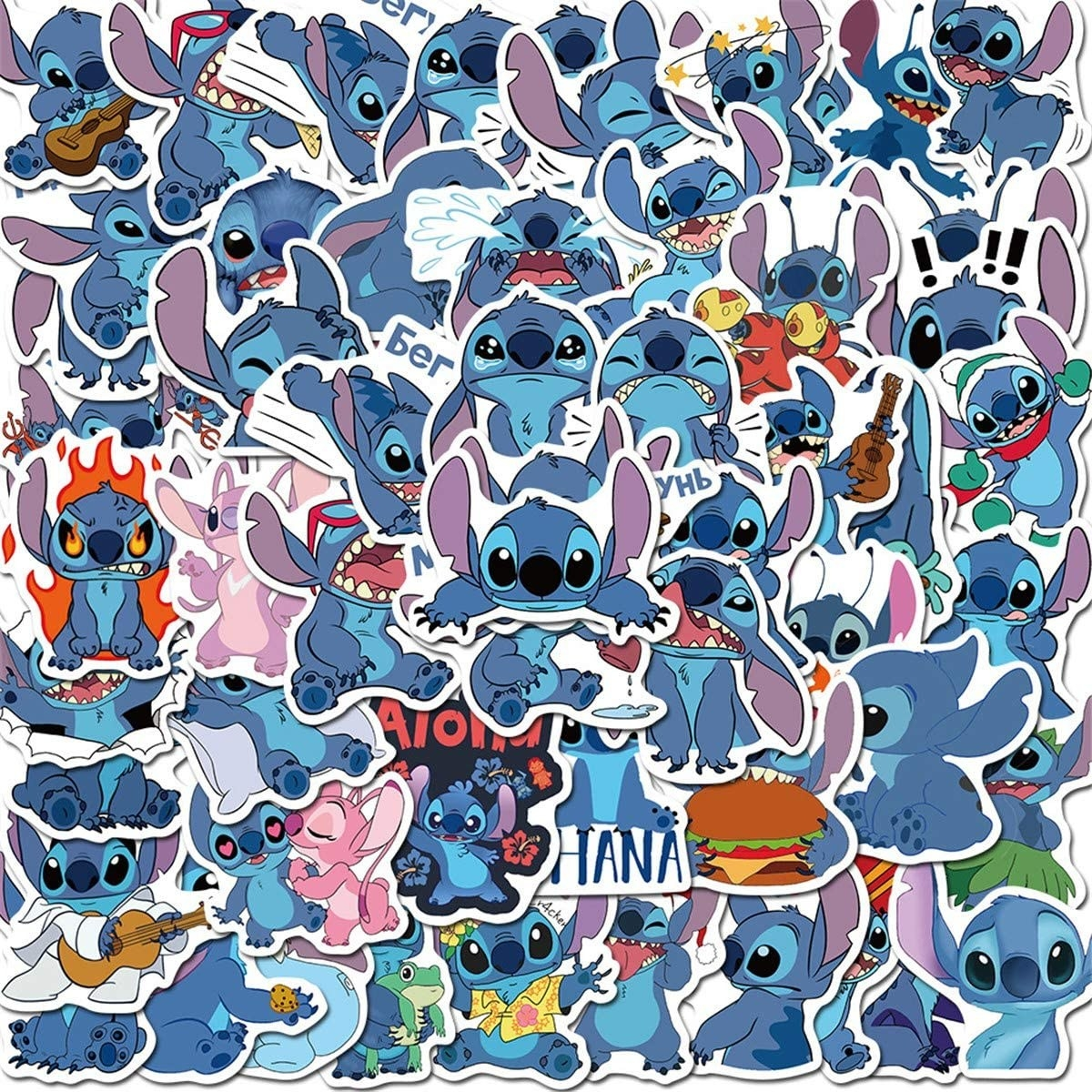 a pile of stitch stickers