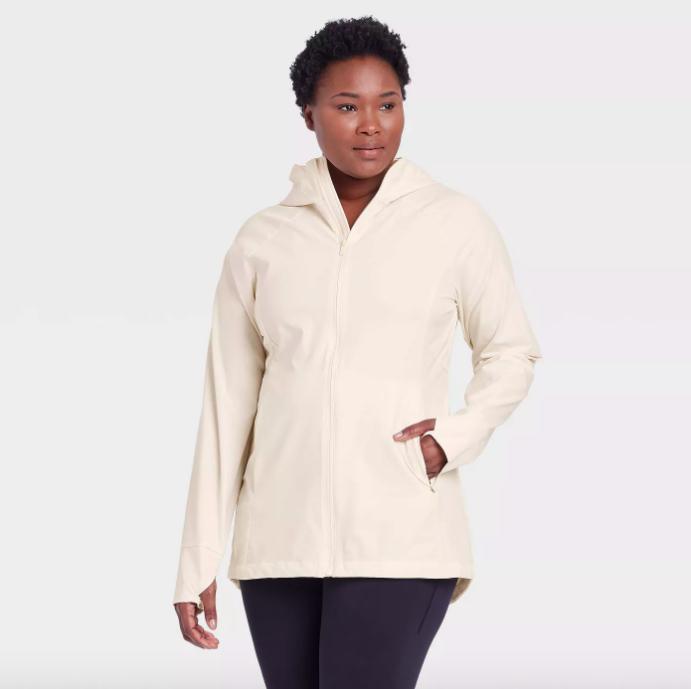 A model wearing the jacket in linen