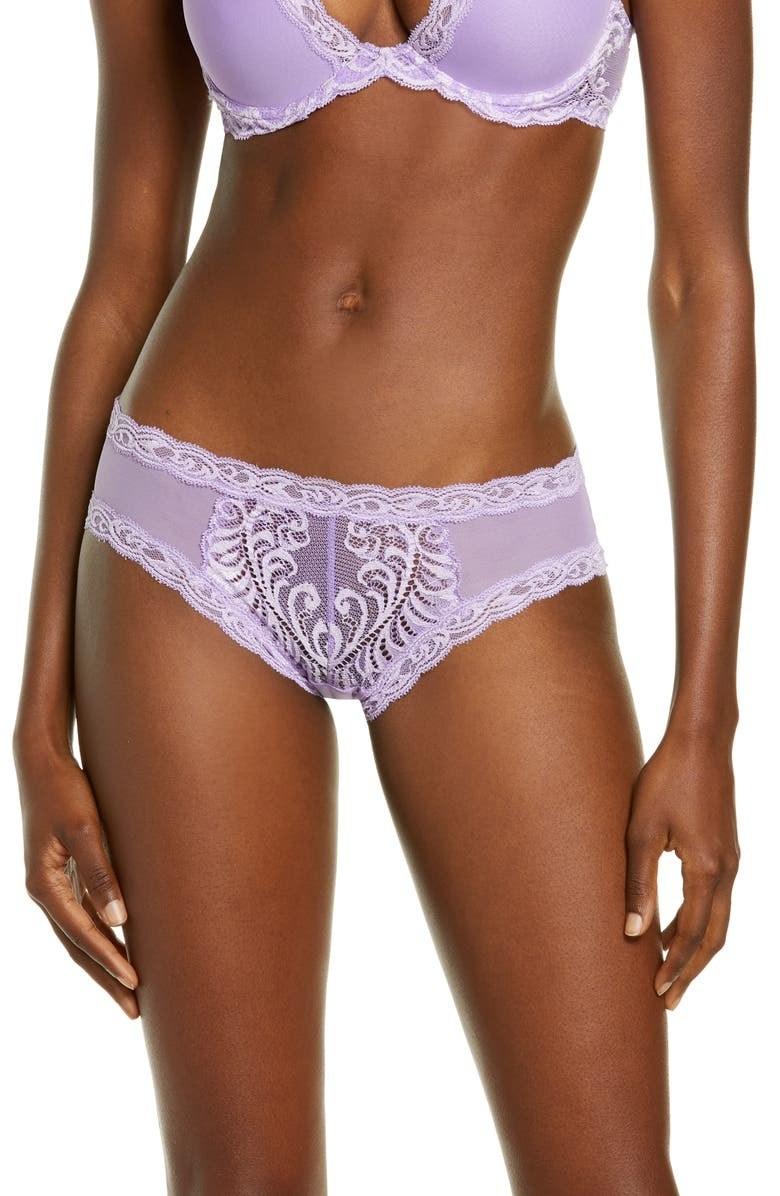 A model wears the panties in lavender