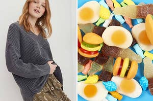 model in grey v-neck sweater; pile of candy