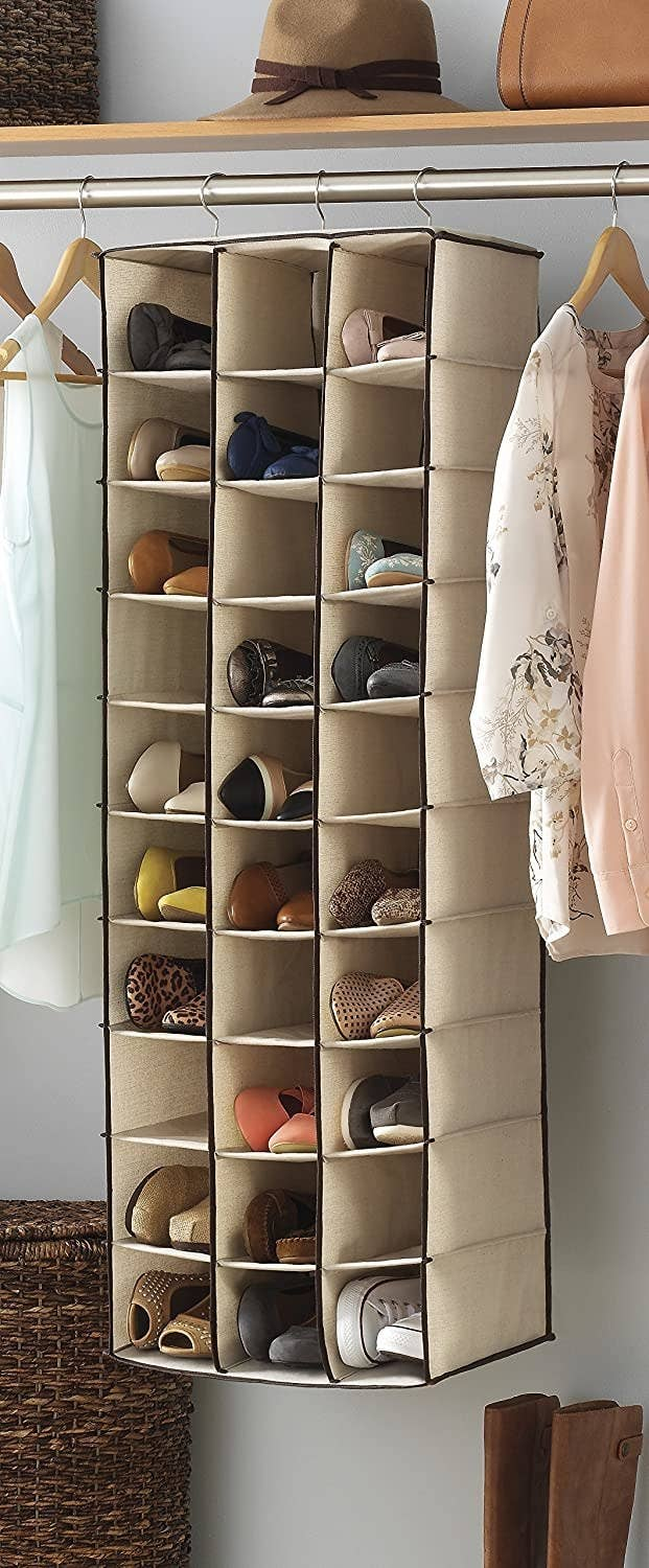 Tan hanging shoe shelf with 30 sections