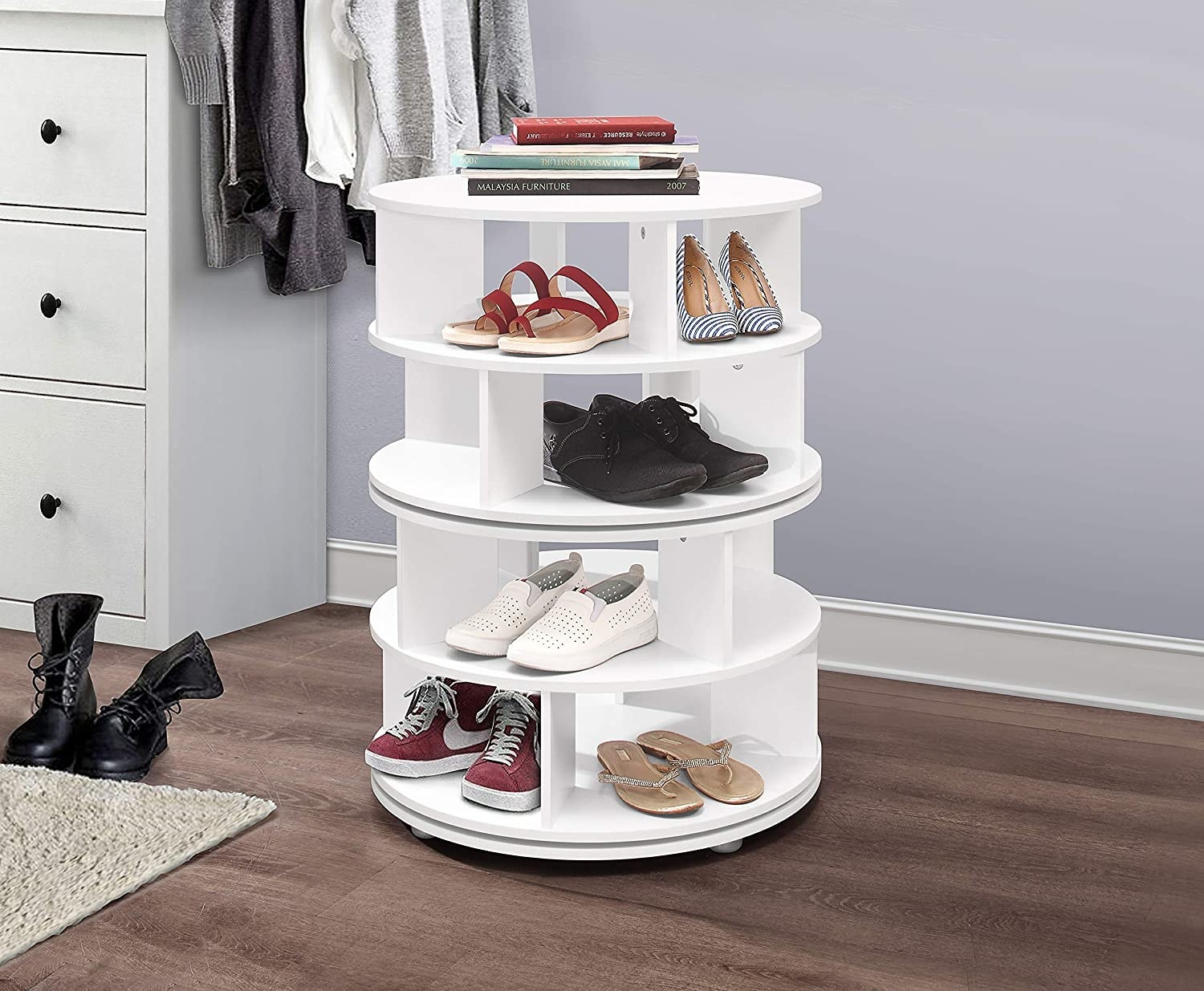 The lazy susan shoe holder with four shelves