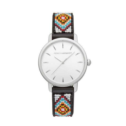 a silver watch with a colorful beaded band