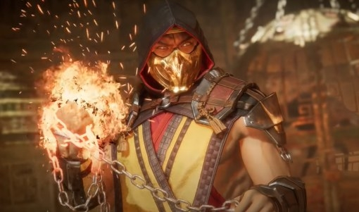 Scorpion with a chain and flaming fist