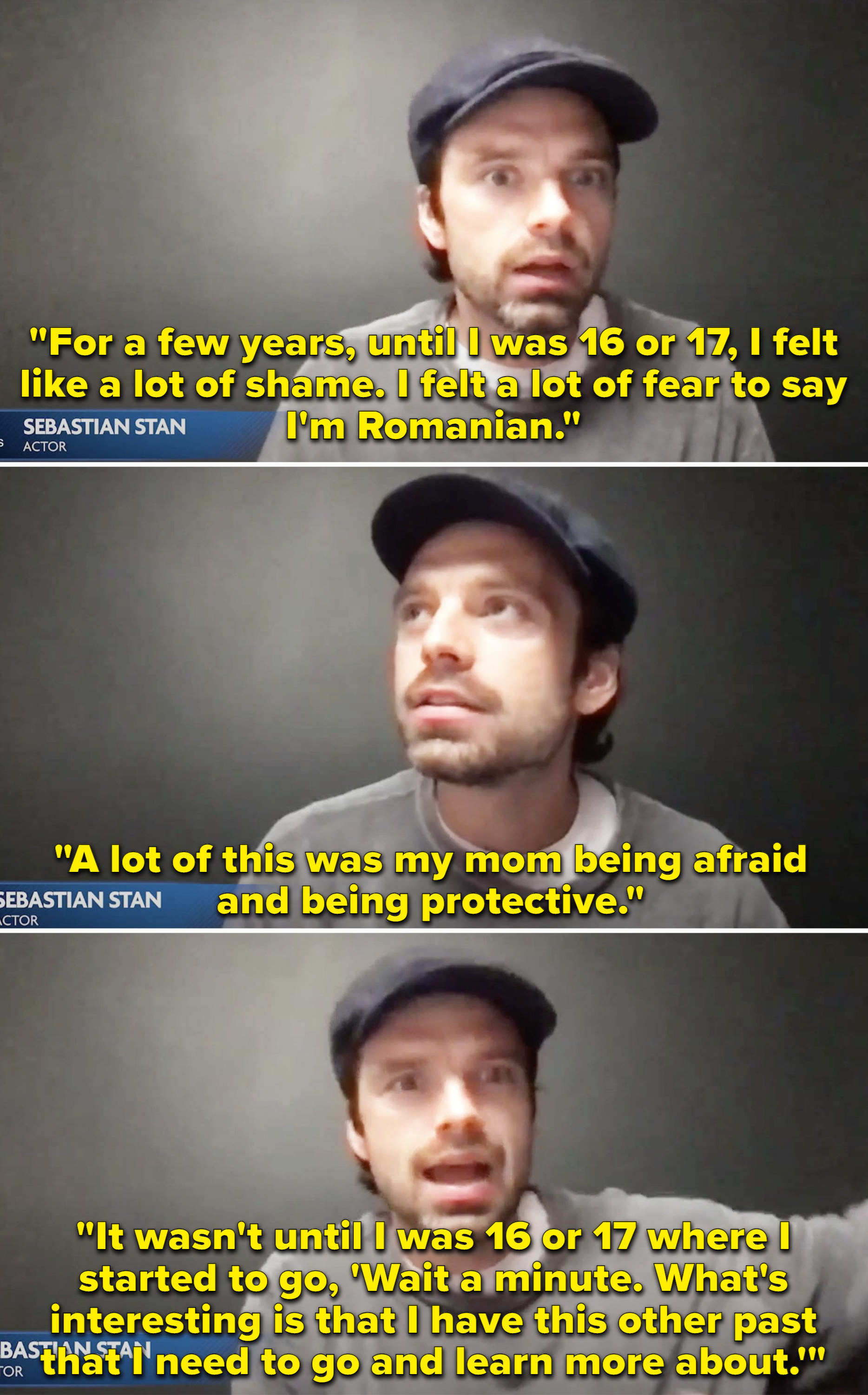 """Sebastian saying until he was 16 or 17 he """"felt a lot of shame"""" saying he was from Romania"""